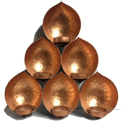 Medium Black & Copper -Teardrop Cluster Wall Hanging Candle Holder - Natural Essences