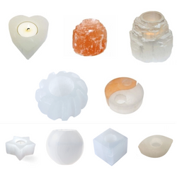Selenite Tea light Holders (Various Patterns available) - Natural Essences