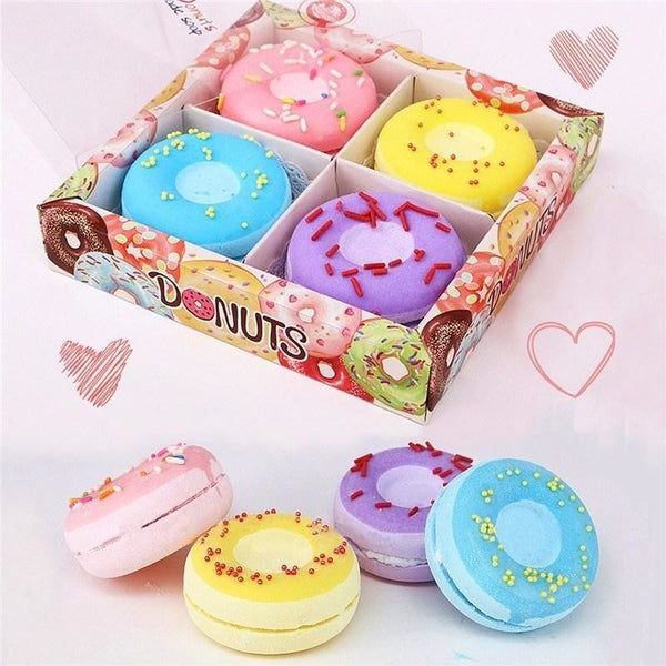 4pcs Donut Bath Bomb Fizzies - Natural Essences