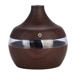 Wood Grain Air Humidifier Diffuser with Colorful LED Light - Natural Essences