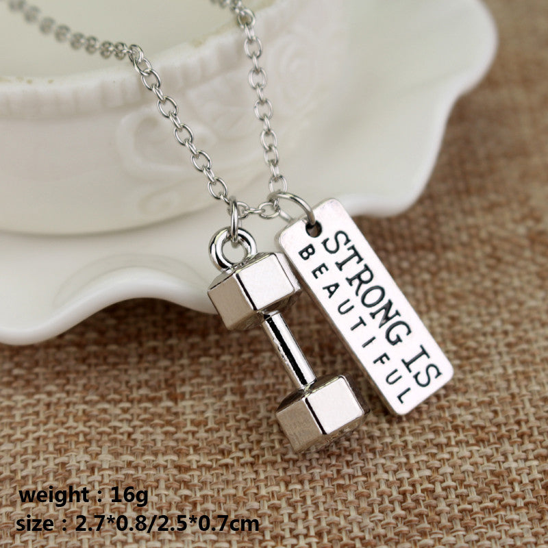 necklace dp barbell com gift lady amazon gym silver sides dumbbell fitness sterling jewelry