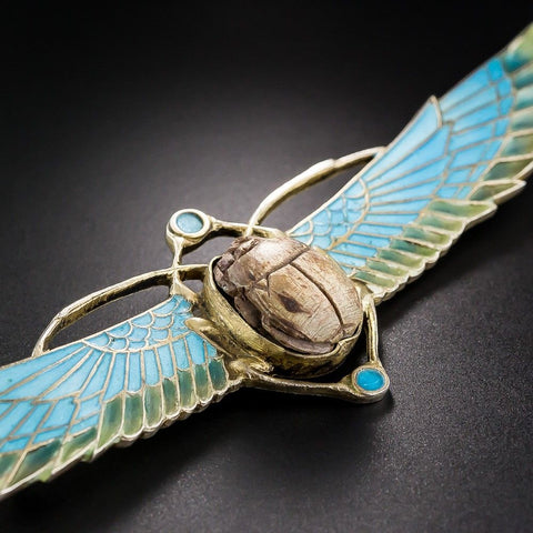 Silver scarab brooch with amazonite