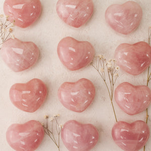 Rose Quartz Hearts from Madagascar