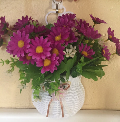 Hanging Basket with artificial flowers