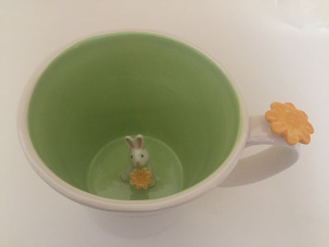 Coffee mug, cute bunny inside mug, 550ml, Green