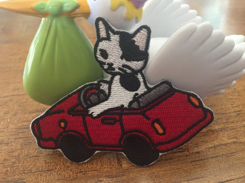Embroidered Iron On Patch, Driving Cat