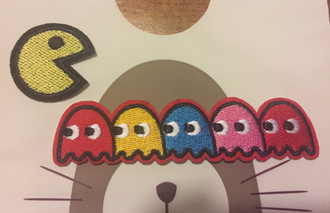 Pacman Embroidered Iron On Patch, sewing patch, pacman patch