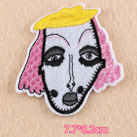 Embroidered Iron on Patch, weird lady patch