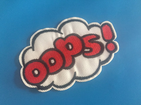 OOPS Embroidered Iron On Patch, OOPs sewing patch, oops patch