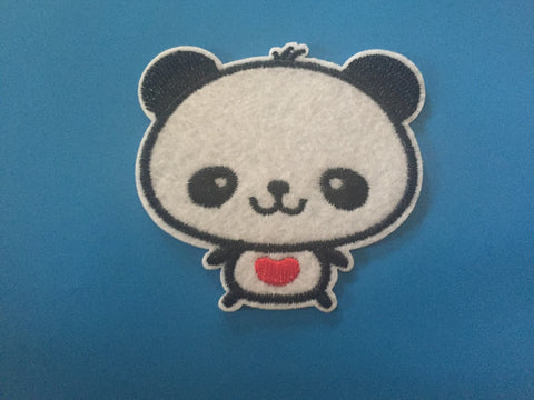 Panda Embroidered Iron On Patch, panda patch, sewing patch