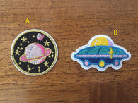 Spaceship Embroidered Iron On Patch, planet sewing patch, outer space patch