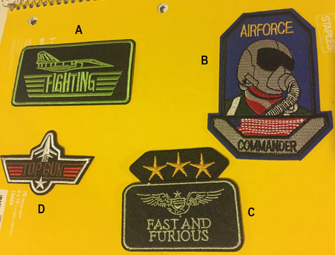 Airforce commander patch, top gun patch, Fighting iron on patch, Fast and furious patch