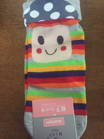 Happy face socks, cartoon cotton socks, socks animal making material