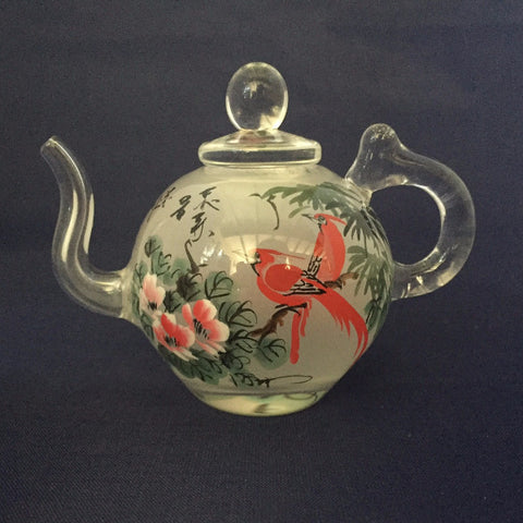Hand Painted Glass Teapot, glass art, Red Birds, reverse painted art