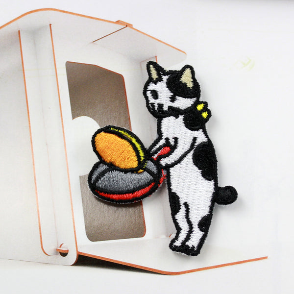 Embroidered Iron On Patch, Cooking Cat