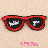 Glasses Embroidered Iron On Patch, Hello patch, Hello You patch