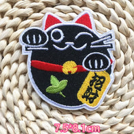 Lucky Cat Embroidered Iron On Patch, Money Cat patch