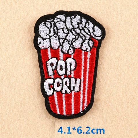 Popcorn Embroidered Iron On Patch, ice cream patch, hamburger patch, food patch