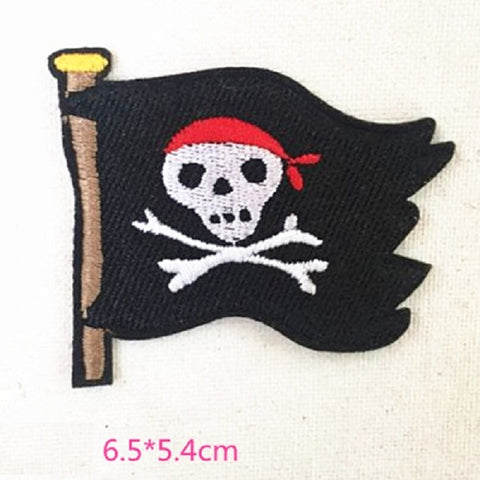 Skeleton flag Embroidered Iron On Patch, skeleton sewing patch, ghost patch
