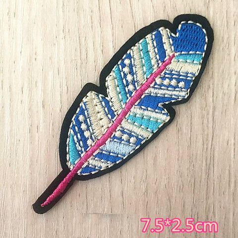 Feather Embroidered Iron On Patch, feather patch