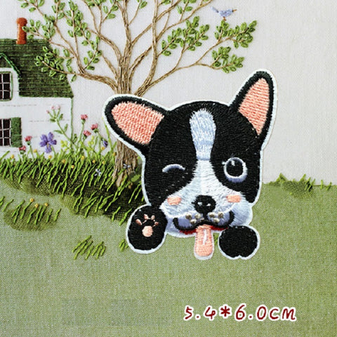 Husky Embroidered Iron On Patch, Miao cat sewing patch, Dog patch, cat patch