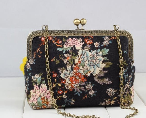 DIY Handbag Sewing Kit Supply: 20 cm, 1-piece style, Dark Flowers