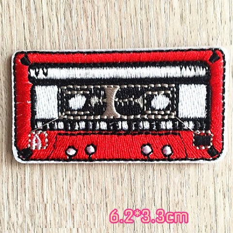 tape iron on patch, cassette patch