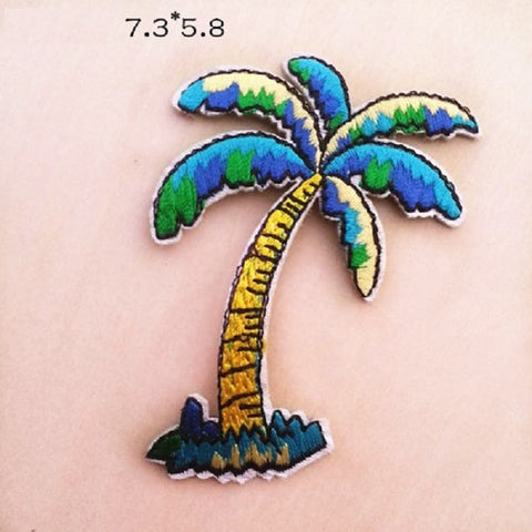 Palm Tree Embroidered Iron On Patch, coconut tree patch, Tree patch, tropical tree patch