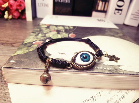 Handmade Bracelet, Evil Eye, adjustable chain