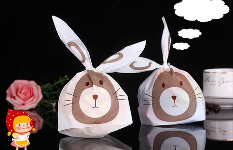 10 Bunny Gift Bags with tie ribbons, cute bunny, gift bag for Cookies, chocolate or candies.