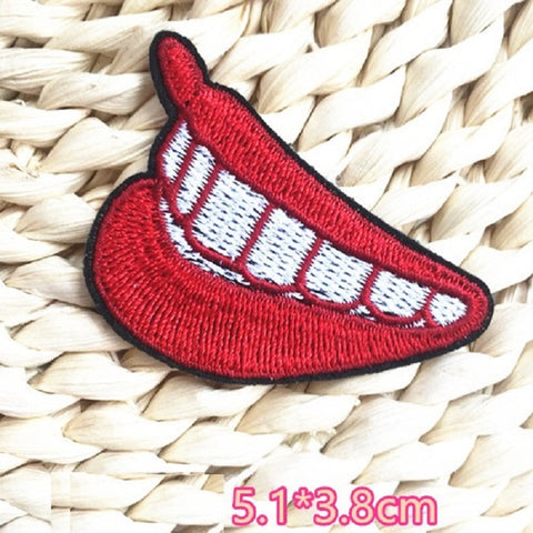 red mouth sewing patch