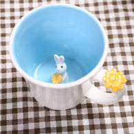 3d Coffee mug, cute animal inside mug, 550ml, cute bunny inside, Blue
