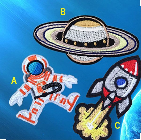 Astronaut Embroidered Iron On Patch, planet sewing patch, outer space patch