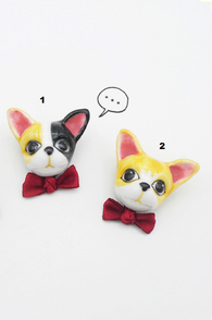 Hand painted 3D brooch, Dog wearing a bow tie, ceramics brooch, 3d pin