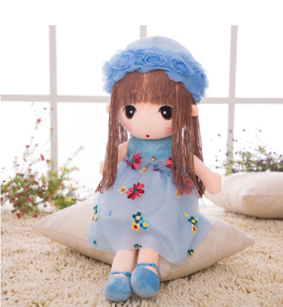 Stuffed Plush toy, Girl in blue skirt, cute doll, gift for girls, beautiful doll, 15'' and 17''