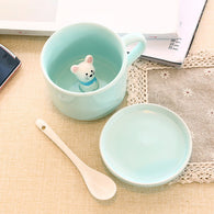 3d mug with Lid and Spoon, Cat in cup, cute Coffee Mug, 3d cup