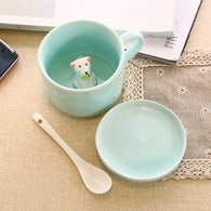 3D Cup with Lid and Spoon, Dog inside mug, cute Coffee Mug, 3d mug
