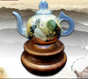 Reverse Painted Art Glass Teapot: Crane, perfect gift for seniors