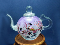 Reverse Painted Glass Teapot, glass art, Purple Birds
