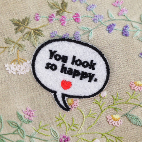 Embroidered Iron On Patch, sewing patch, you look so happy