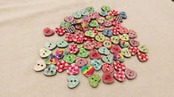 Colorful heart shaped wooden buttons