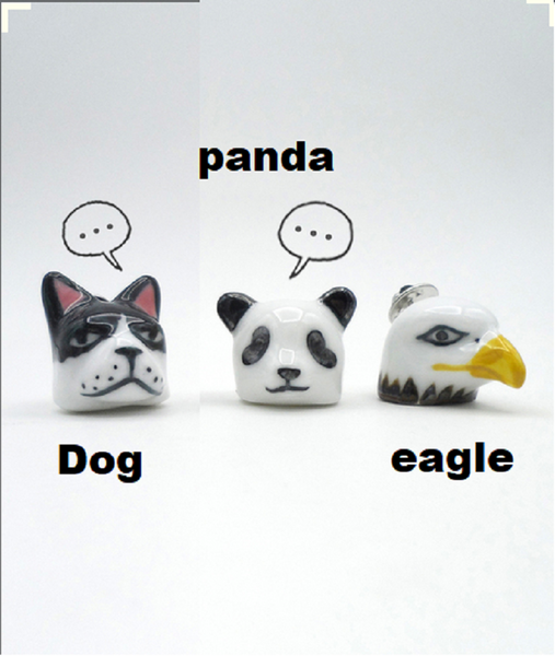 Hand painted 3D pin, ceramics 3d brooch, eagle pin, panda pin, dog pin