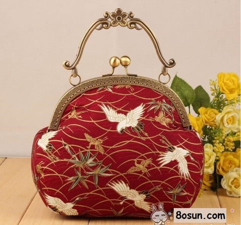 DIY Handbag Sewing Kit: Red Crane, 3-piece style