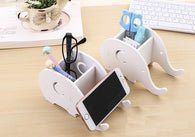 Desk organizer phone holder, pencil holder, elephant shape, paint your own