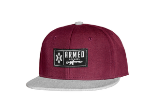 Gun Patch Snapback - Burgundy/Heather