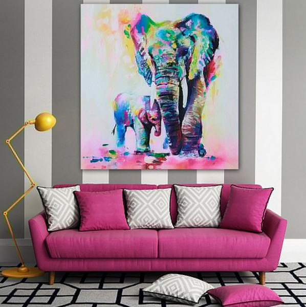 Rainbow Elephant Canvas