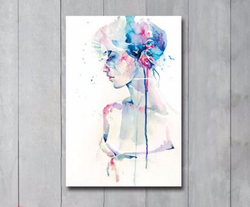 Abstract Watercolor Girl Portrait