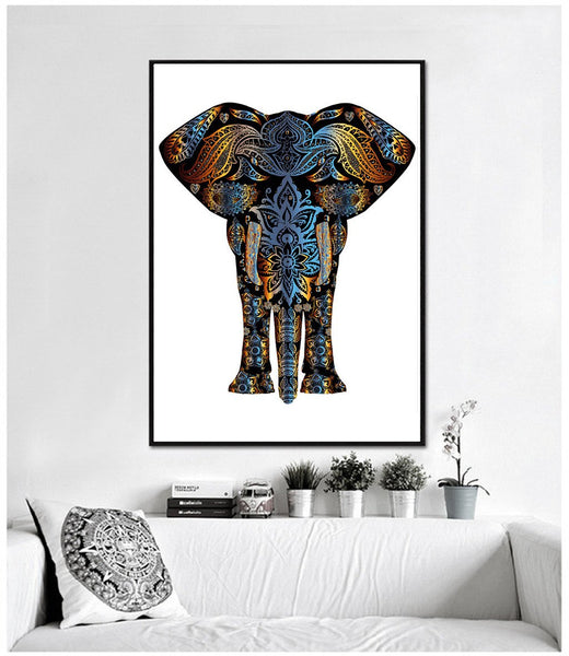 henna elephant canvas art