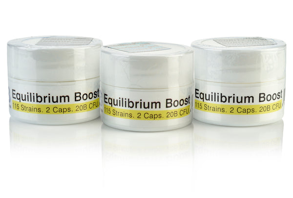 Equilibrium Boost MegaDose Probiotic Supplement High Dose Starter with Prebiotic - 20 Billion CFU Time Release - 2 Capsules - 115-Strains