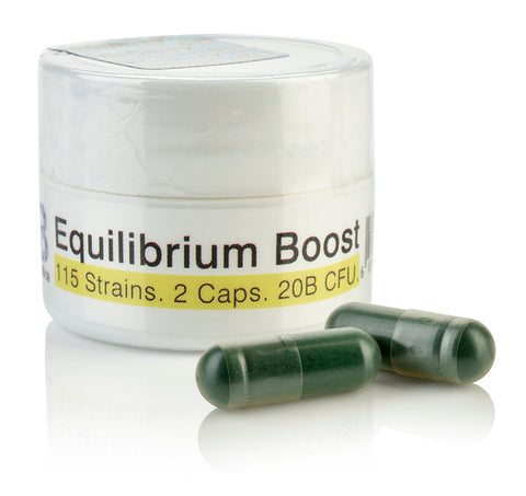 Equilibrium Boost MegaDose Probiotic Supplement High Dose Starter with Prebiotic - 20 Billion CFU Time Release - 2 Easy to Swallow Capsules - Highest Strain Count in The World - 115-Strains